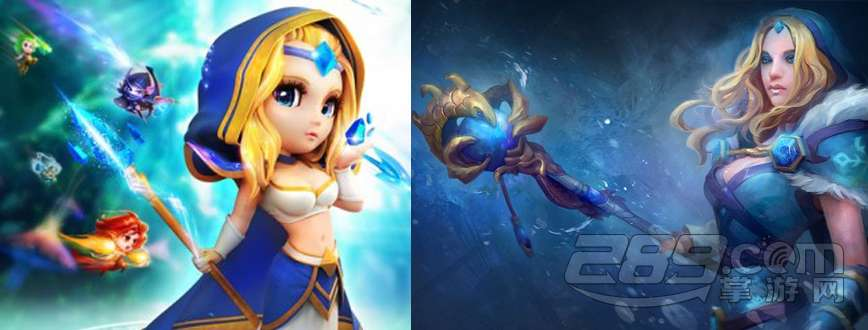 左图是《刀塔传奇》冰女,右图是《dota2》水晶室女