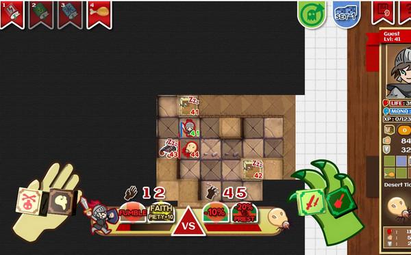 《纸上地牢 Paper Dungeons》是一款桌面游戏。游戏的剧情非常简单,讲述了的是一位骑士为了拯救被魔王抓走的公主从而勇闯魔塔,但最终发现这一切都是魔王为了挑选出自己的接班人而精心策划的一个局。该游戏的玩法主要针对玩家的策略思维而展开,整体上更像是在下一盘棋。另外游戏中还会涉及到诸如解锁职业与解锁技能的搭配使用,其内容的不确定性非常强,是一款相当耐玩的作品。